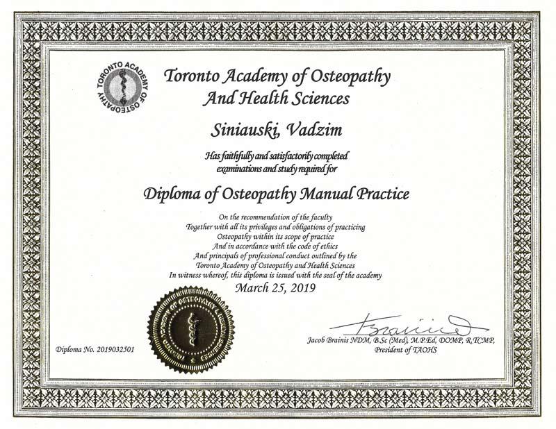 Vadzim Siniauski Diploma of Osteopathy Manual Practice